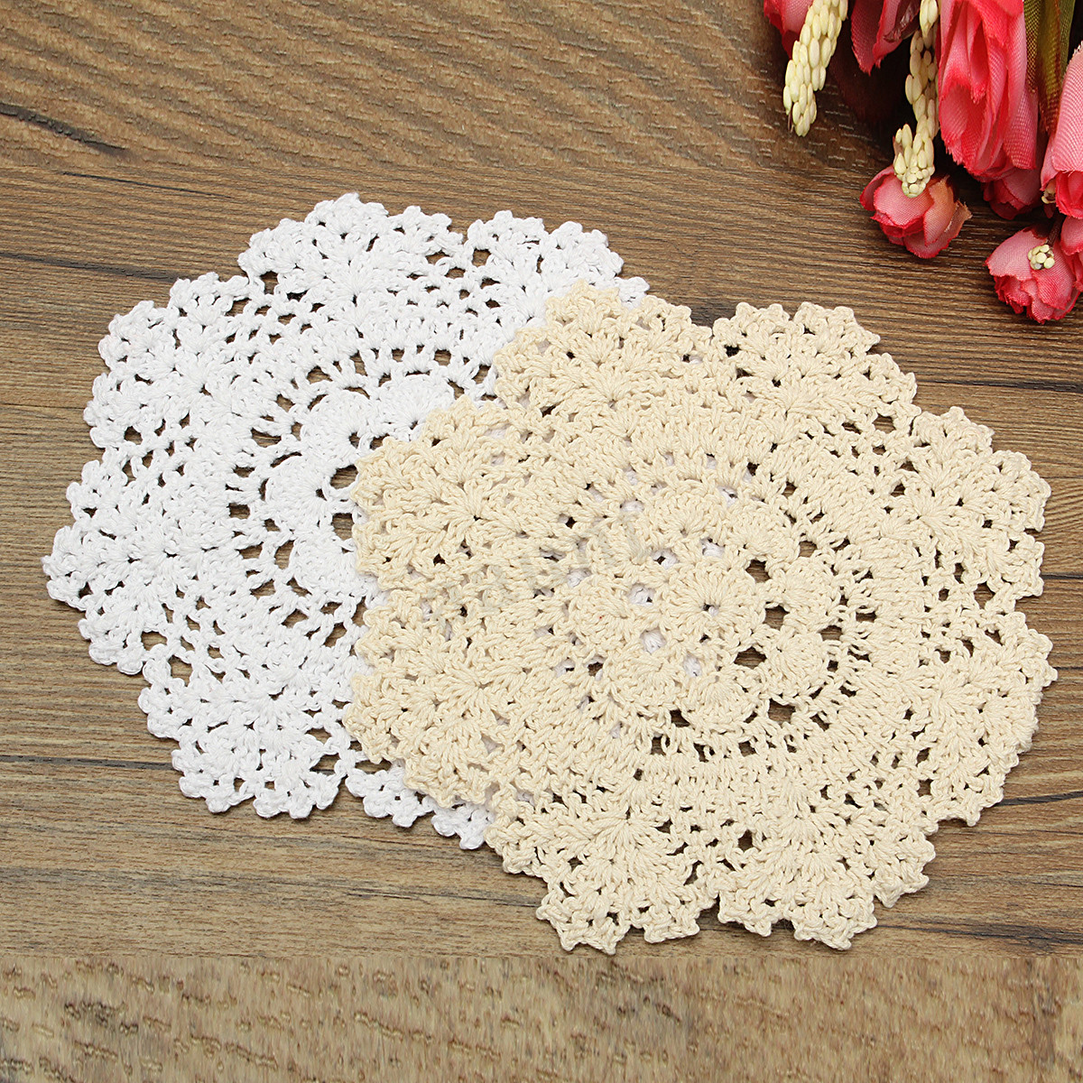 Hand Crocheted Cotton Yarn Round Lace Doily Mat Vintage
