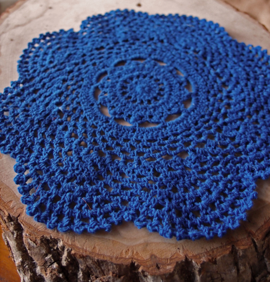 "Cotton Doilies Beautiful 8"" Round Handmade Cotton Crochet Doilies Dark Blue 2 Of Brilliant 44 Photos Cotton Doilies"
