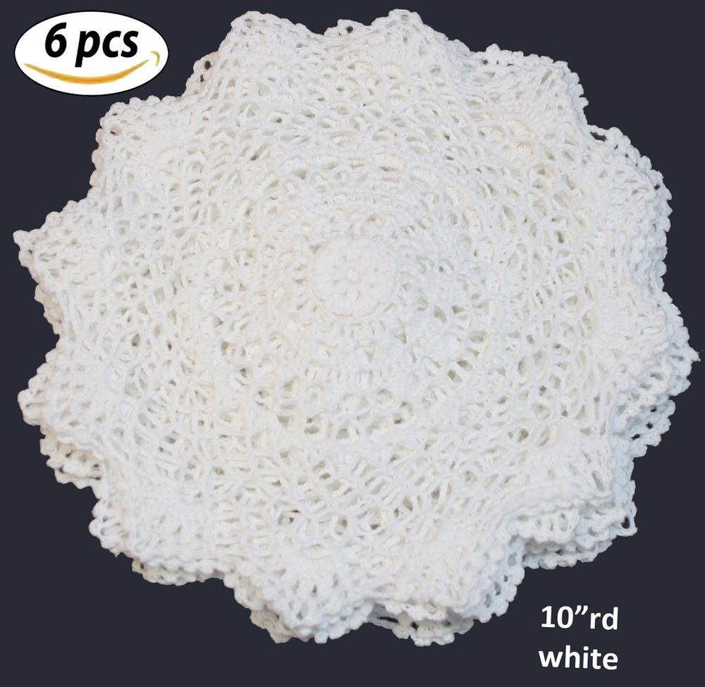 "Cotton Doilies New 6pcs 10"" Round White Cotton Crochet Lace Doily Free S&h Of Brilliant 44 Photos Cotton Doilies"