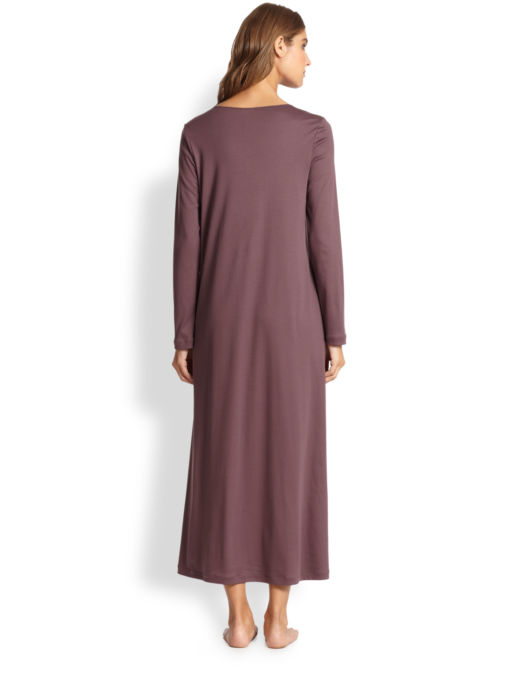 Cotton Knit Awesome Lyst Hanro Queen Long Cotton Knit Gown In Purple Of Marvelous 41 Ideas Cotton Knit