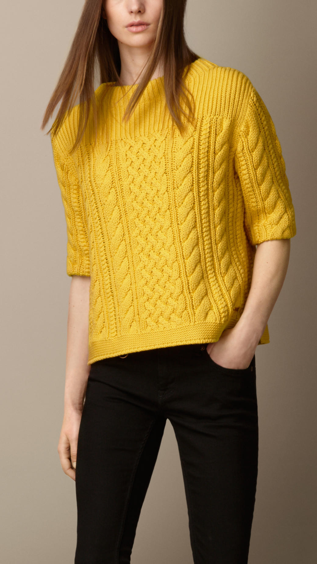 Cotton Knit Fresh Lyst Burberry Cotton Blend Cable Knit Sweater In Yellow Of Marvelous 41 Ideas Cotton Knit