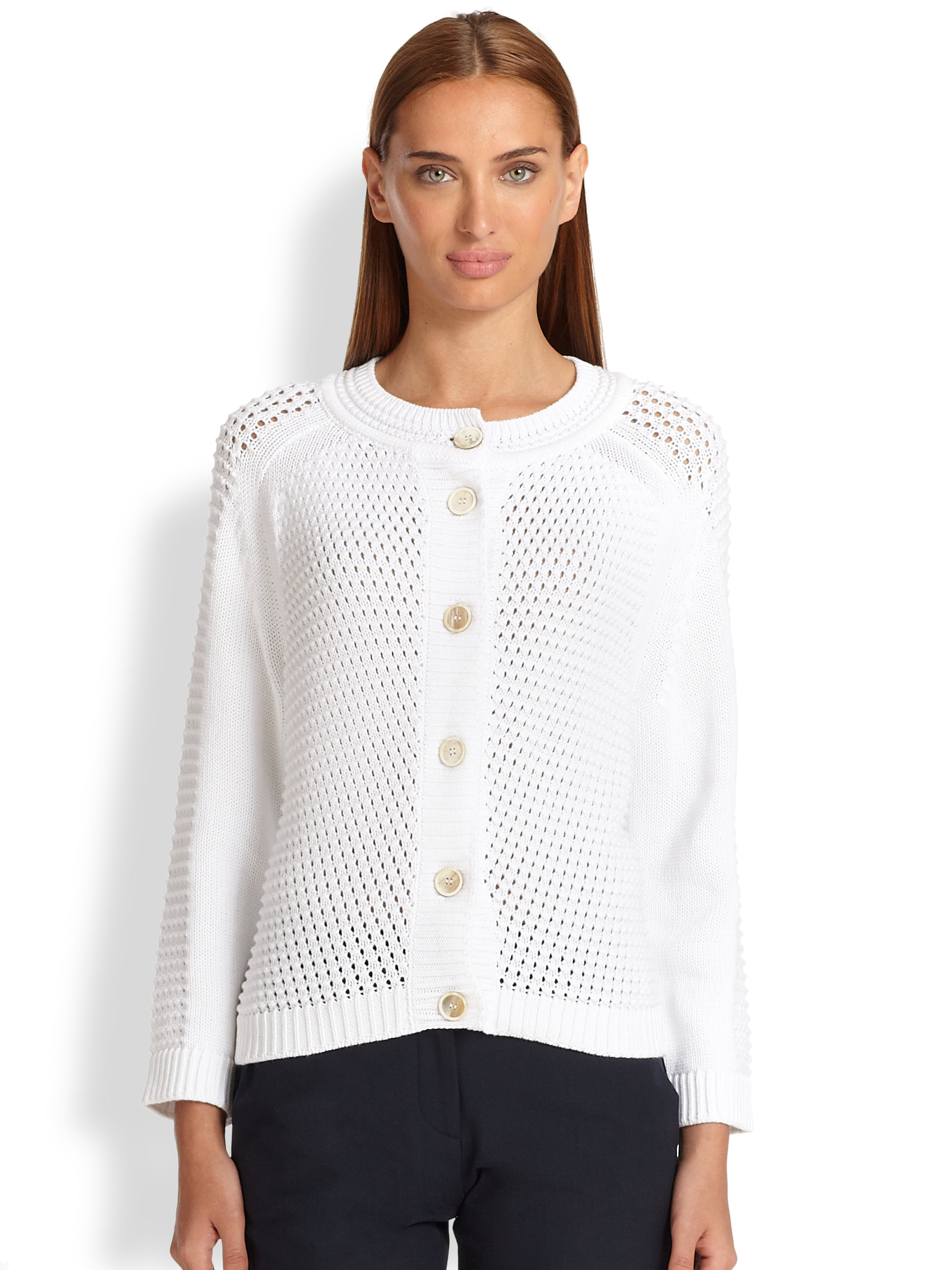 Cotton Knit Luxury Lyst Piazza Sempione Open Knit Cotton Cardigan In White Of Marvelous 41 Ideas Cotton Knit