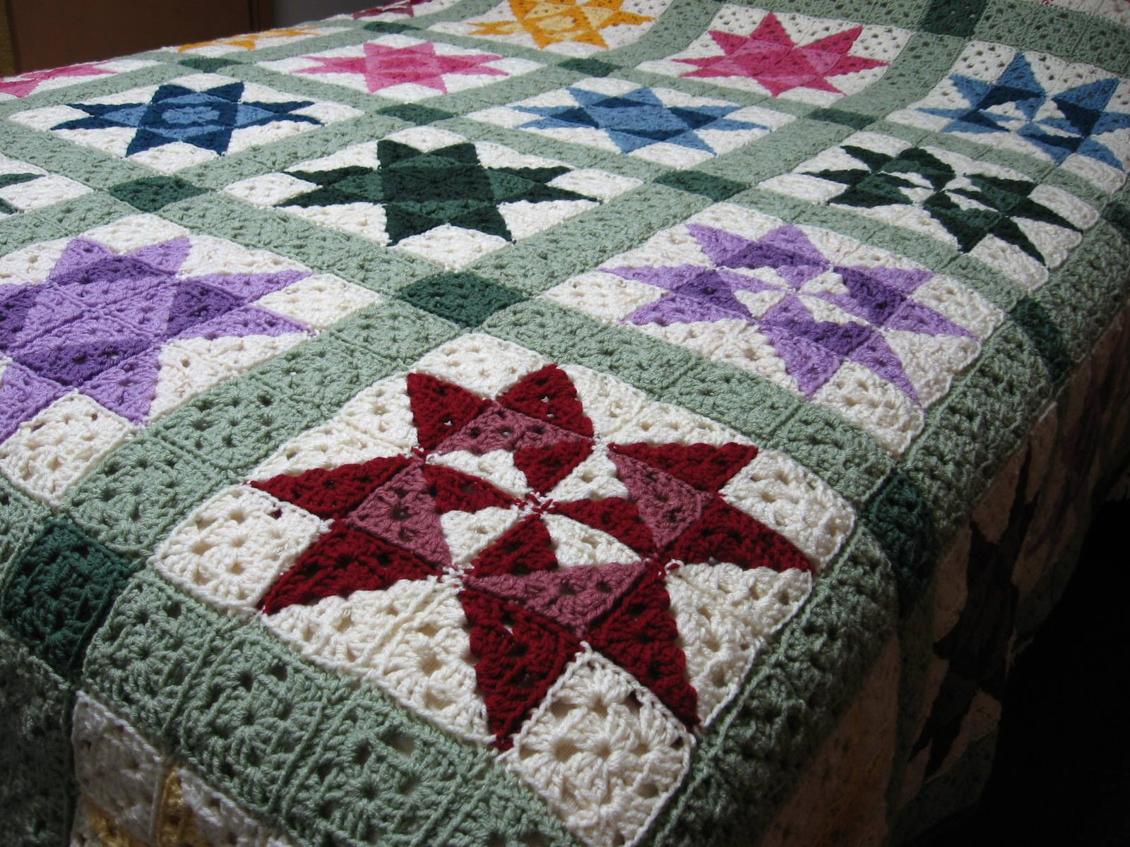 Crochet Afghan Patterns Beautiful Star Motif Granny Square Bedspread ⋆ Crochet Kingdom Of New 40 Pics Crochet Afghan Patterns
