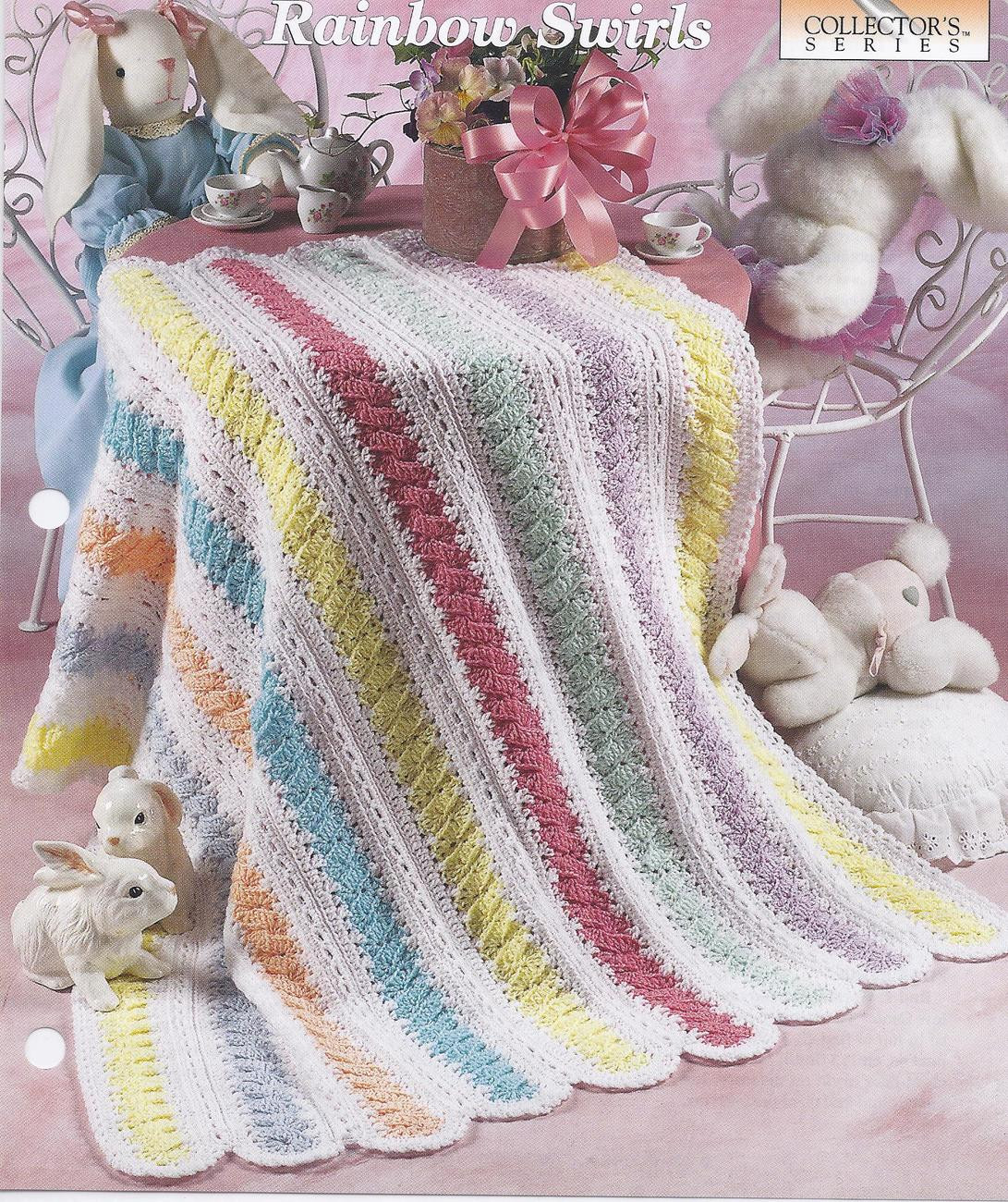 Rainbow Swirls Baby Afghan Crochet Pattern Baby & Children