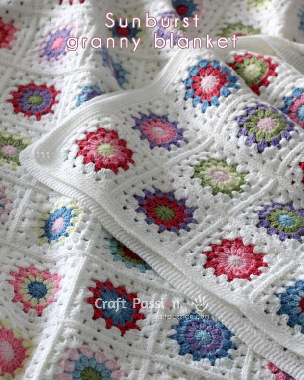 Stunning Colorful Granny Square Afghan Free Crochet
