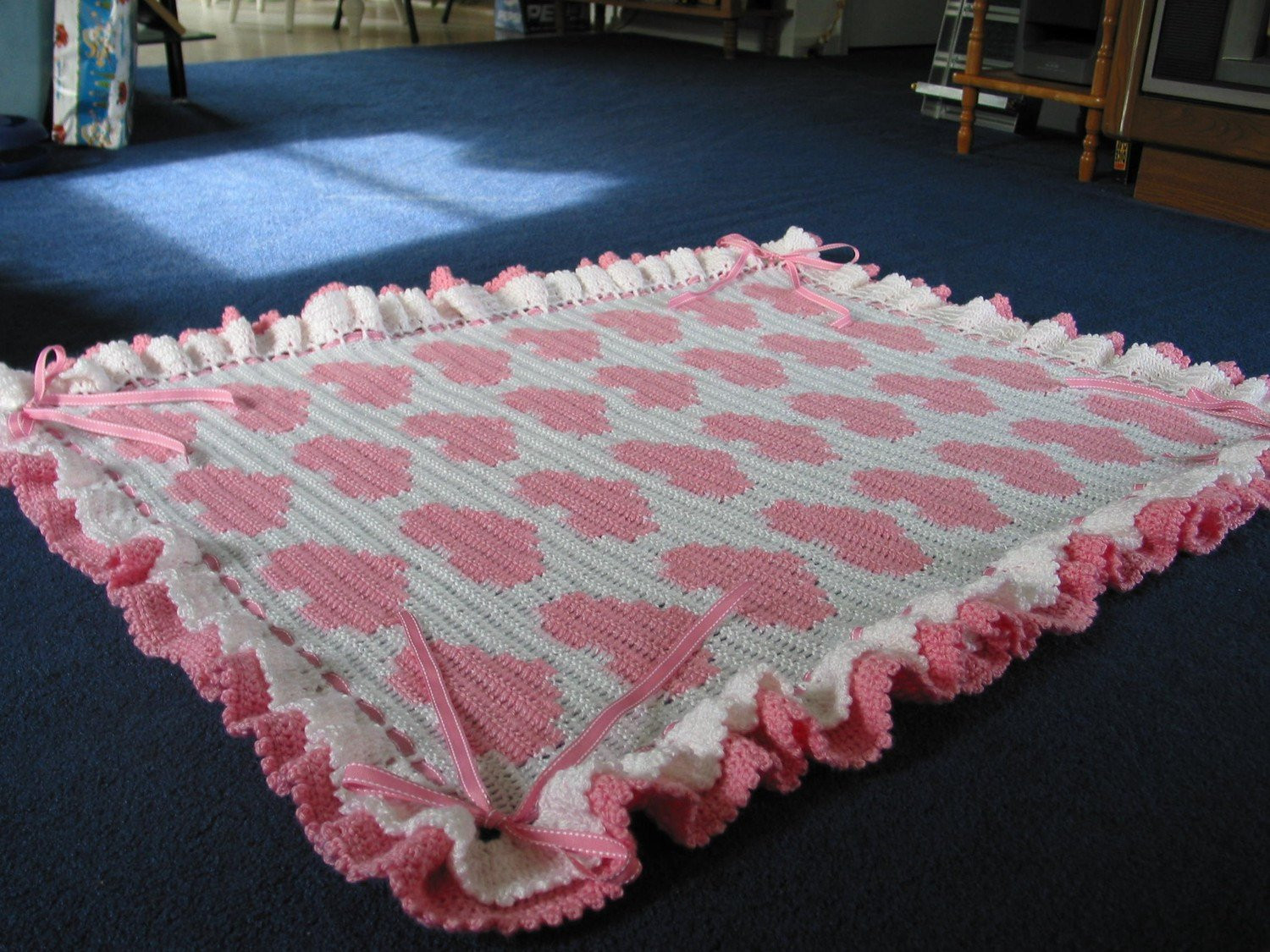 Crochet Afghans for Sale Beautiful Hearts and Bows Crocheted Baby Blanket Afghan Pink White Of Luxury 41 Ideas Crochet Afghans for Sale