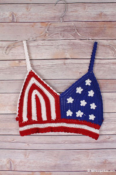 Crochet American Flag Beautiful Flag Boho Cropped Knit Crochet Festival Tank top Bralette Of Incredible 44 Pics Crochet American Flag
