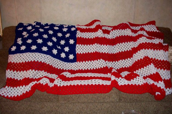 Crochet American Flag by AfghansAndMore52 on Etsy