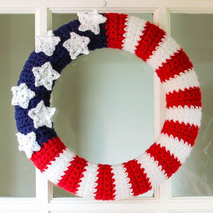 Crochet American Flag Elegant American Flag Wreath Crochet Pattern Petals to Picots Of Incredible 44 Pics Crochet American Flag