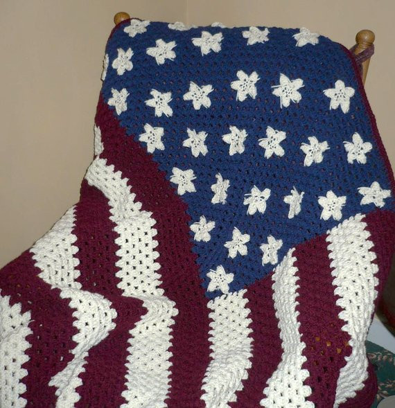 Crochet American Flag Unique Crocheted Afghan Blanket American Flag Afghan Red White Of Incredible 44 Pics Crochet American Flag