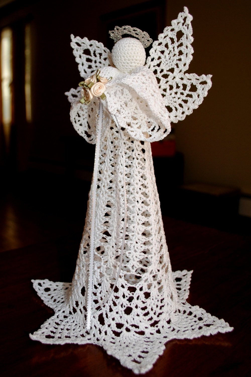 Crochet Angel Pattern Fresh Crochet Christmas Angel Tree topper White with A Silver Halo Of Brilliant 43 Pictures Crochet Angel Pattern