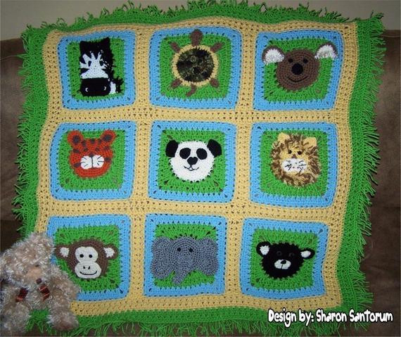 A Day at the Zoo Crochet Baby Afghan or Blanket Pattern PDF