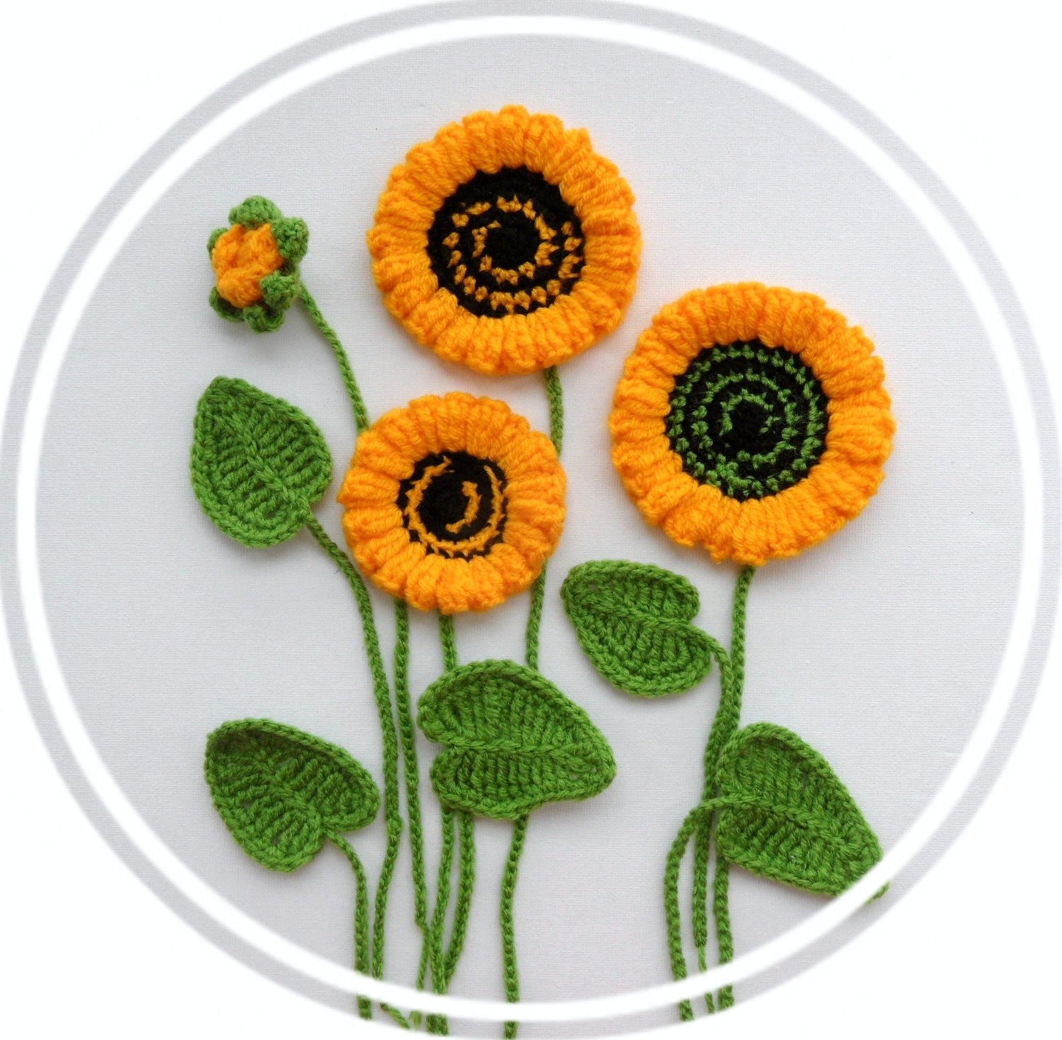 Crochet Applique Best Of Crochet Applique Sunflowers and Leaves Set Made to Of Marvelous 47 Images Crochet Applique