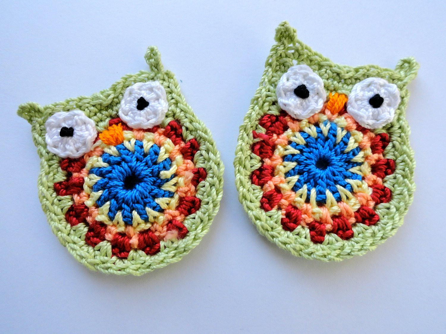 Crochet Applique Best Of Rainbow Colored Crochet Owl Applique Set Of Two From Of Marvelous 47 Images Crochet Applique