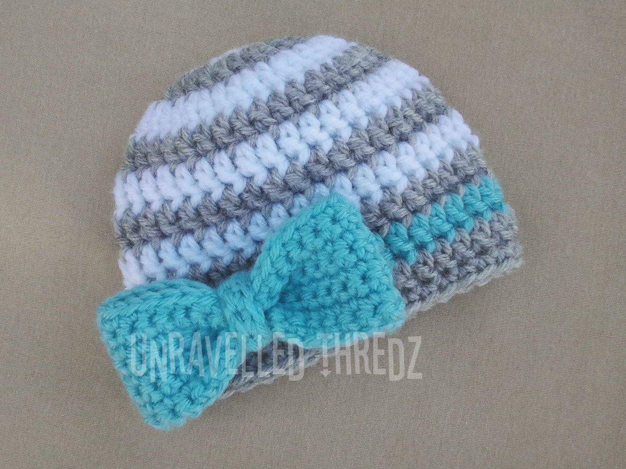 Newborn Prop Hat with Bow Crochet Baby Girl Hat with