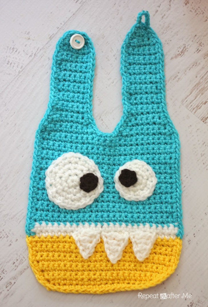 Crochet Baby Bib Pattern Lovely Crochet Monster Baby Bibs Repeat Crafter Me Of Great 45 Photos Crochet Baby Bib Pattern