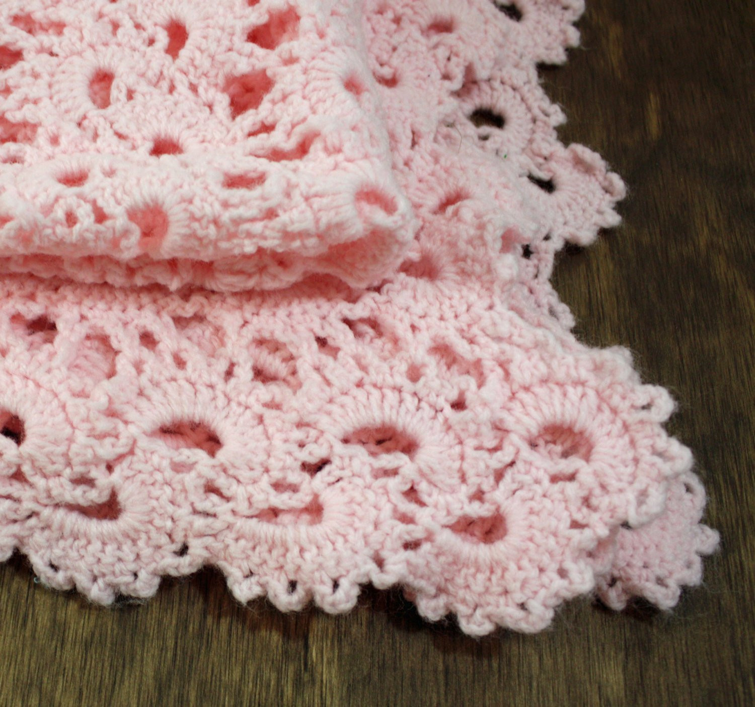 SALE Pink Crocheted Baby Blanket