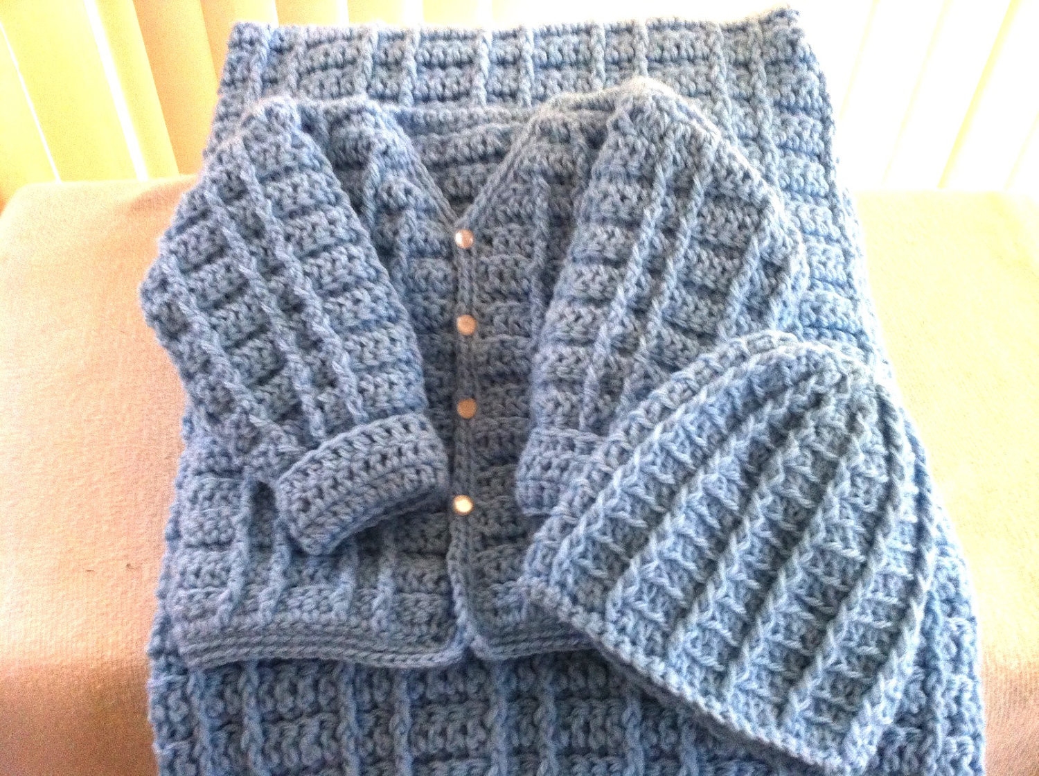 Crochet Baby Boy Sweater Set with Cap and Blanket