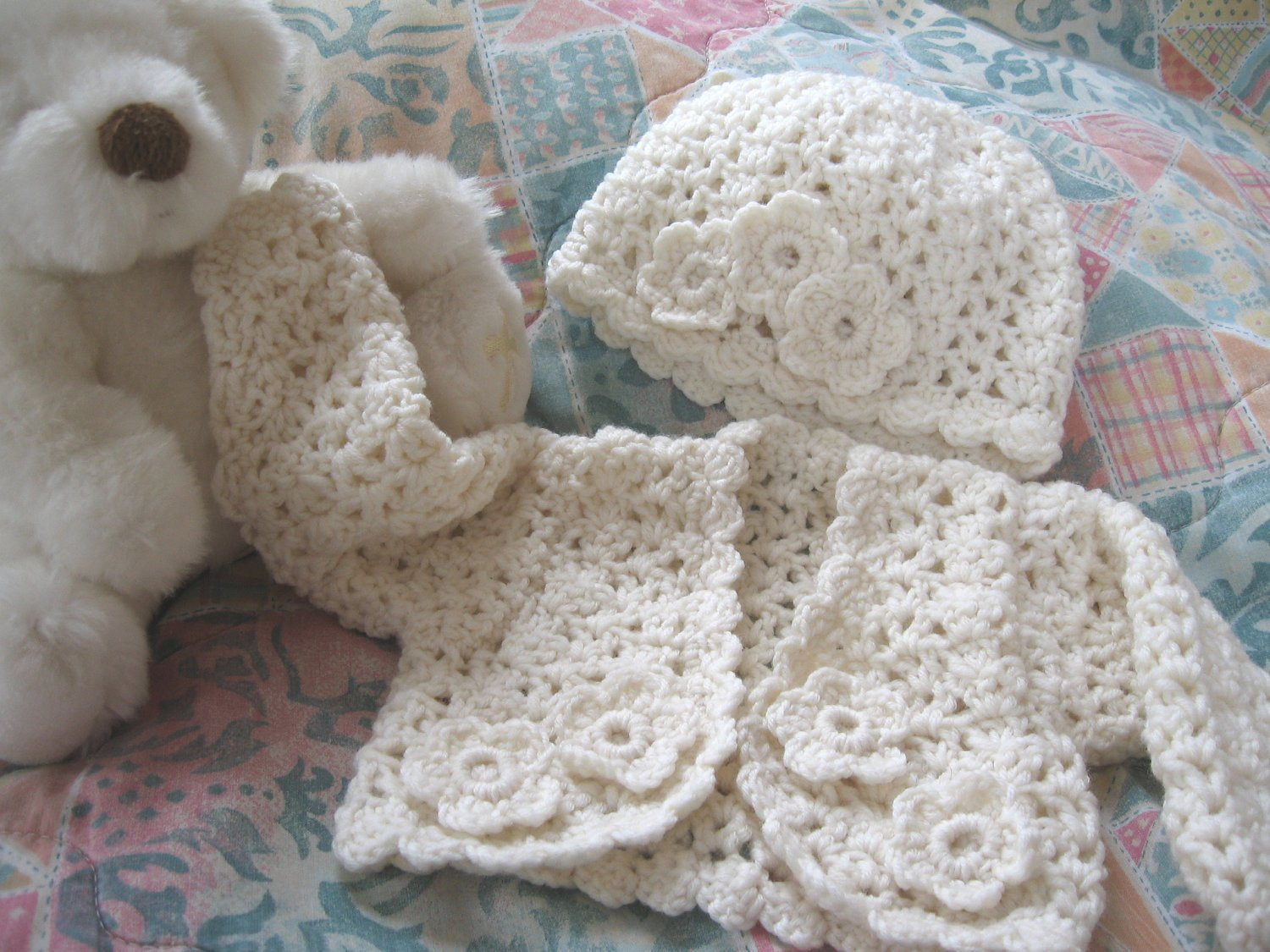 Crochet Baby Sweater Set Cardigan Hat Newborn to 3 months