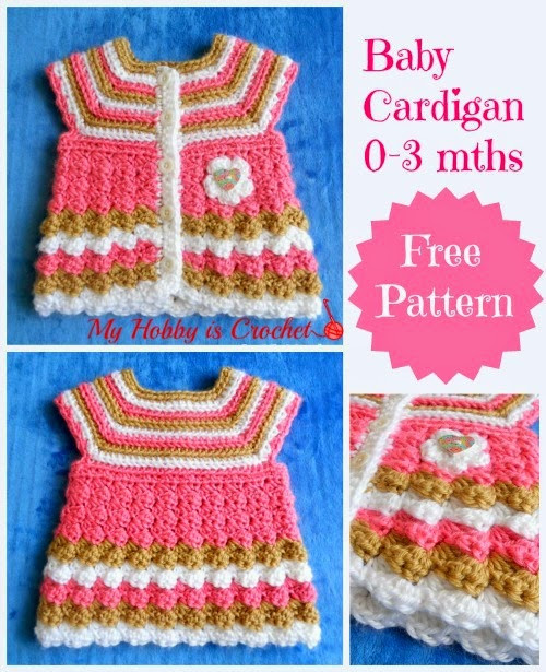 "My Hobby Is Crochet Crochet baby cardigan ""Stripes and"