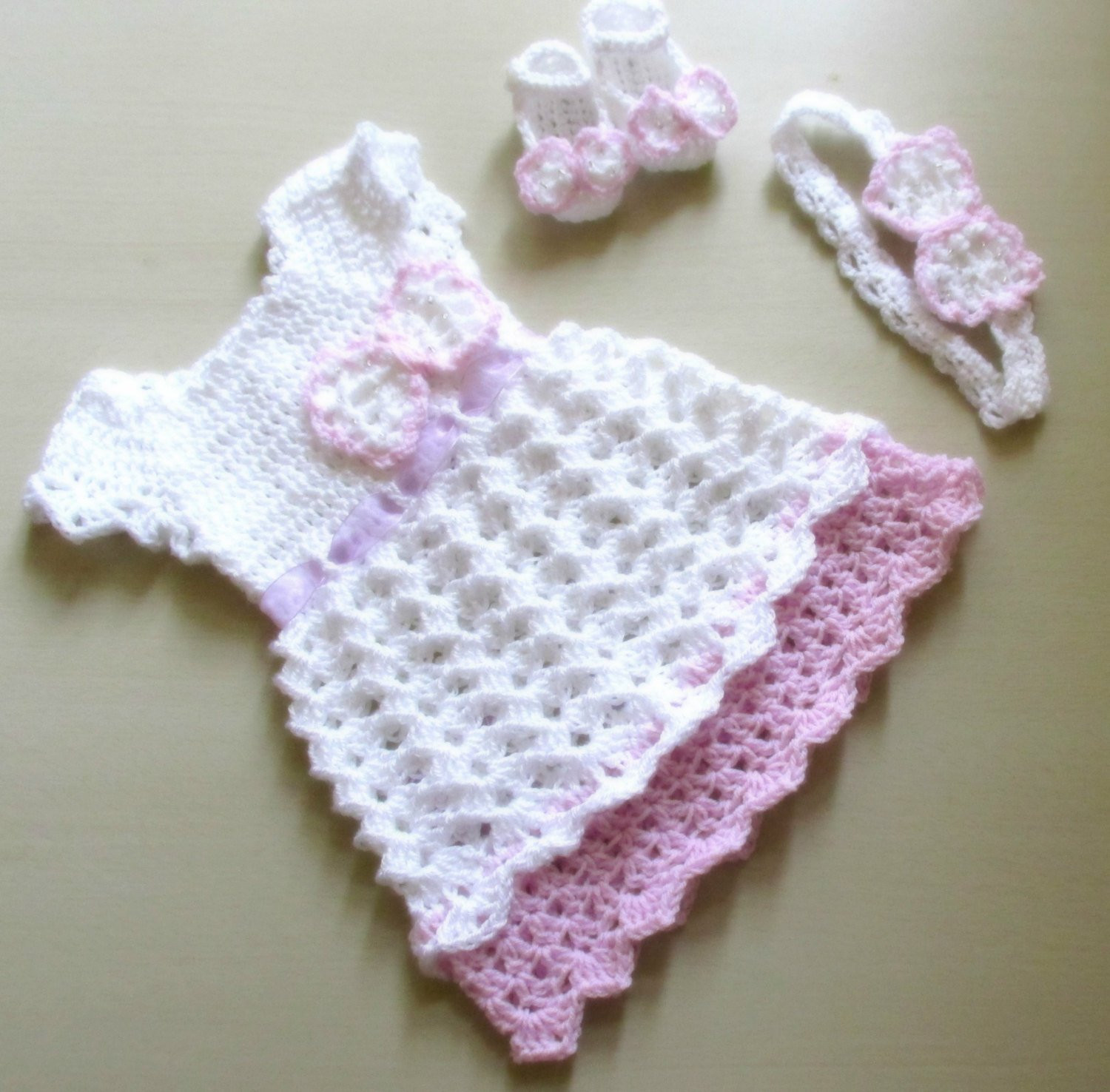Crochet Baby Clothing Lovely Crochet Baby Dress Baby Dress Headband and Shoes Crochet Of Amazing 44 Ideas Crochet Baby Clothing
