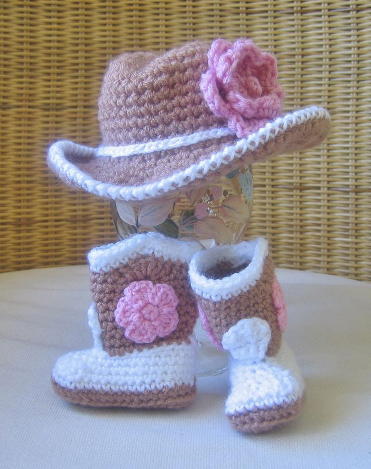 Crochet Baby Cowboy Hat and Boots Pattern Free Best Of Tiny Cowgirl Set Crochet Cowboy Hat and Boots with Pink Of Brilliant 40 Ideas Crochet Baby Cowboy Hat and Boots Pattern Free