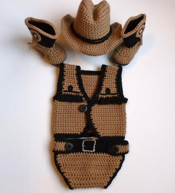 Crochet Baby Cowboy Hat and Boots Pattern Free Inspirational Baby Boy Crochet Taupe Cowboy Vest Diaper Cover Hat Boots Of Brilliant 40 Ideas Crochet Baby Cowboy Hat and Boots Pattern Free