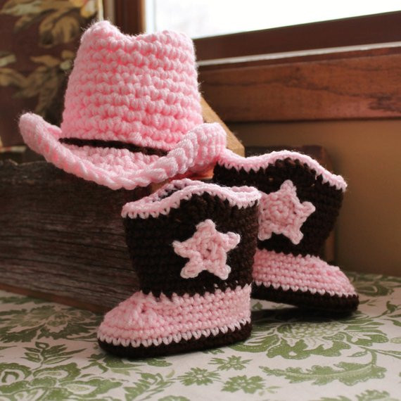 Crochet Baby Cowboy Hat and Boots Pattern Free Inspirational Baby Cowgirl Hat and Boots In Pink and Brown Of Brilliant 40 Ideas Crochet Baby Cowboy Hat and Boots Pattern Free