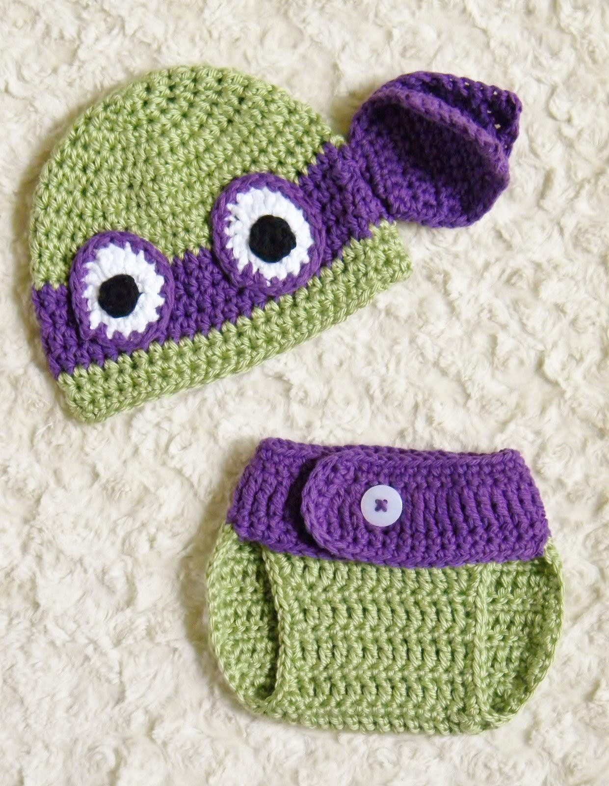 2018 2014 New Ninja Turtles Donatello Crochet Baby Hat