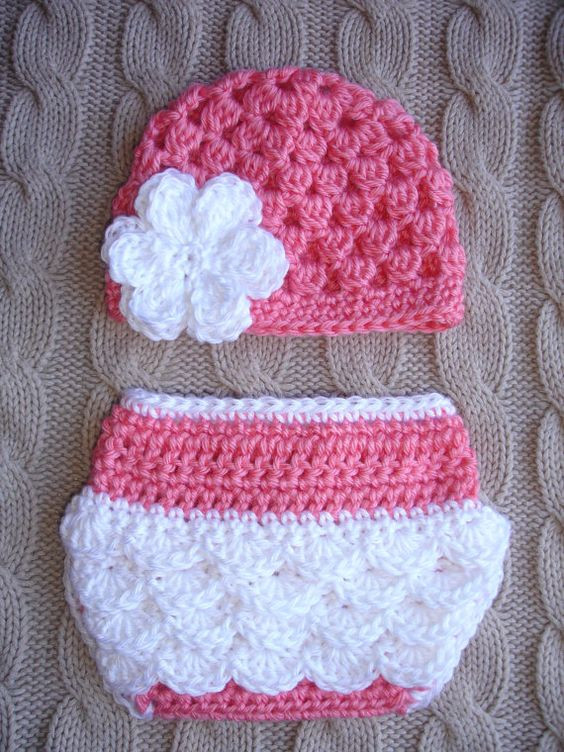 crochet baby hat and diaper cover