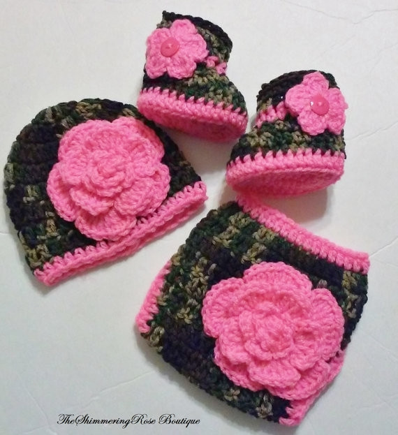 Crochet Baby Diaper Cover and Hat Fresh Crochet Camouflage Diaper Cover Set Bright Pink Flowers Of Perfect 50 Photos Crochet Baby Diaper Cover and Hat