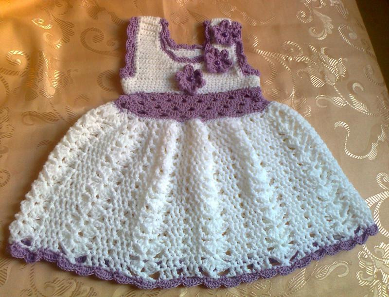 crochet baby dress in white lilac accent take home dress baby frock infant clothes first outfit purple flowered dress photo prop