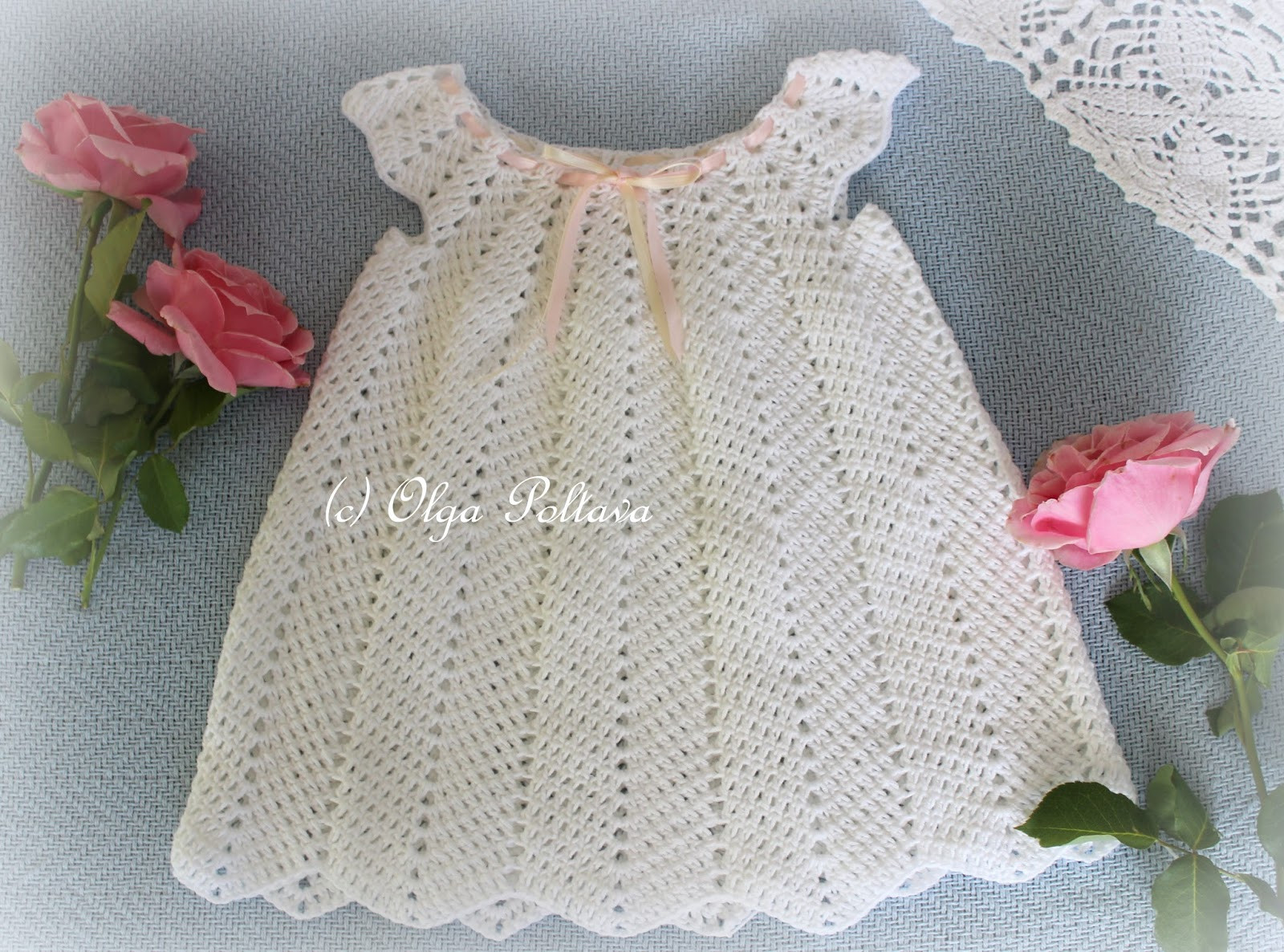 Lacy Crochet White Ripple Baby Dress Size 12 18 Months