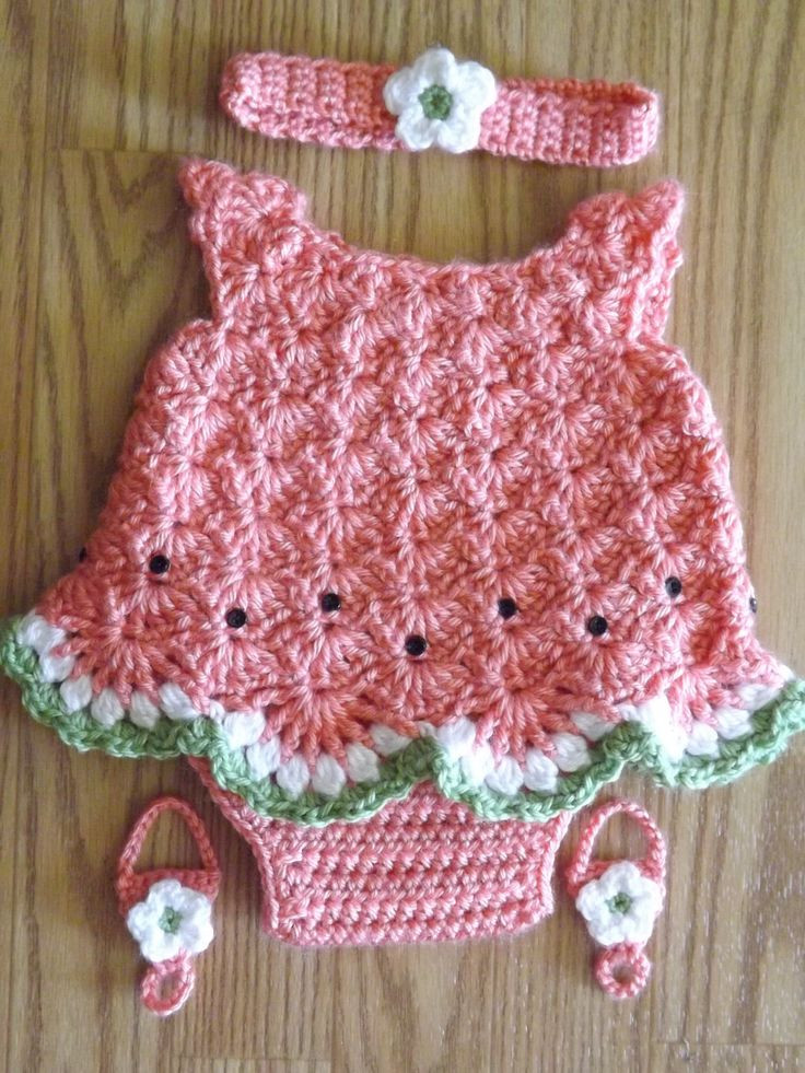 Crochet Baby Girl Outfits New Crocheted Watermelon Dress Set for Newborn Girl Of Perfect 41 Pictures Crochet Baby Girl Outfits