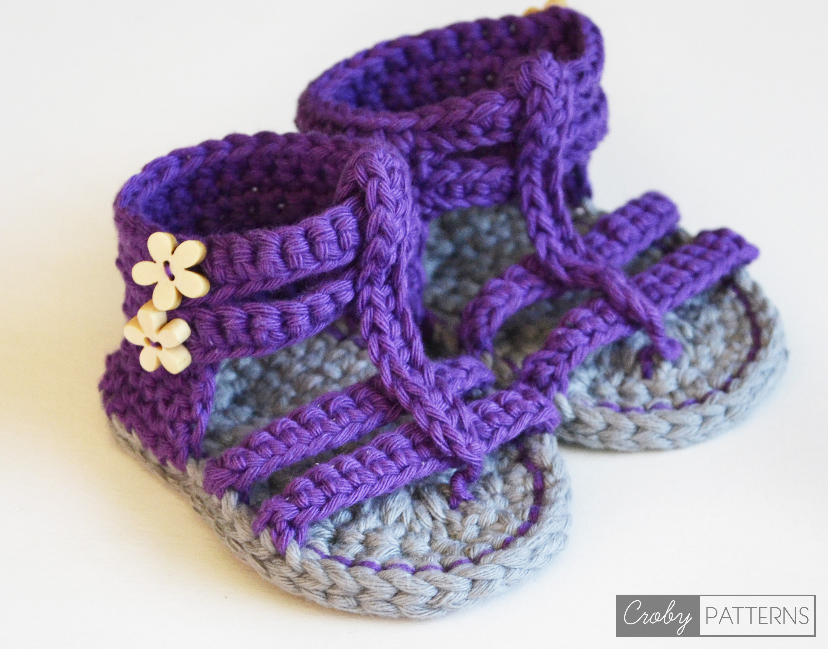 PURPLE GLADIATOR – Crochet Baby Sandals – Croby Patterns
