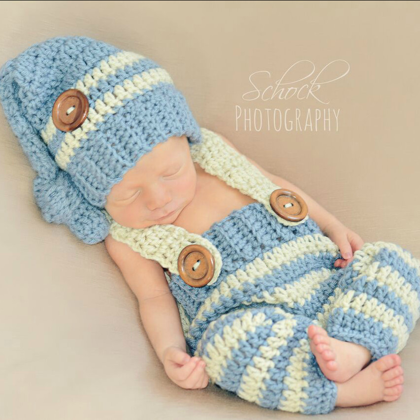 Crochet Baby Striped Pants Overalls Knot Hat Beanie Set