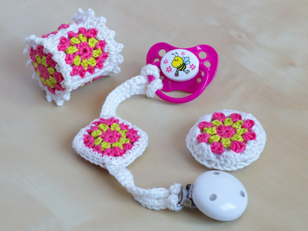 Crochet Baby Toy Set 'Granny Square' free pattern