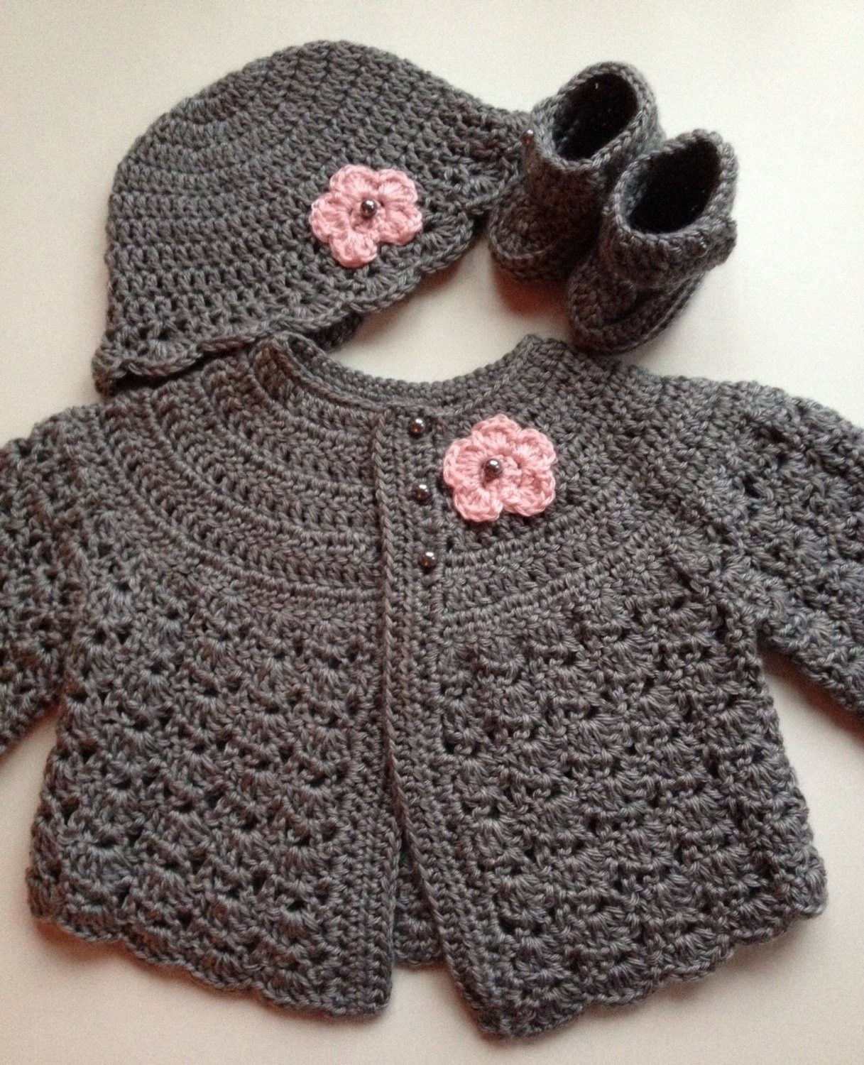 Crochet Baby Sweater Beautiful Crochet Baby Sweater Hat Booties Set Heather Grey 3 6 Mo Of Charming 44 Images Crochet Baby Sweater