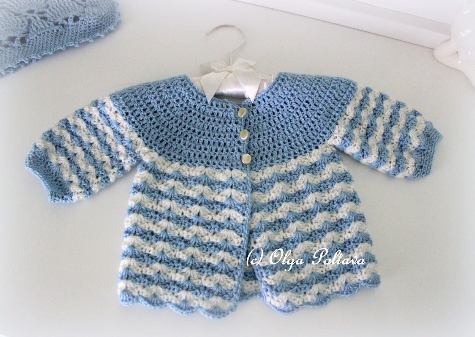 Lacy Crochet Newborn Baby Crochet Sweater