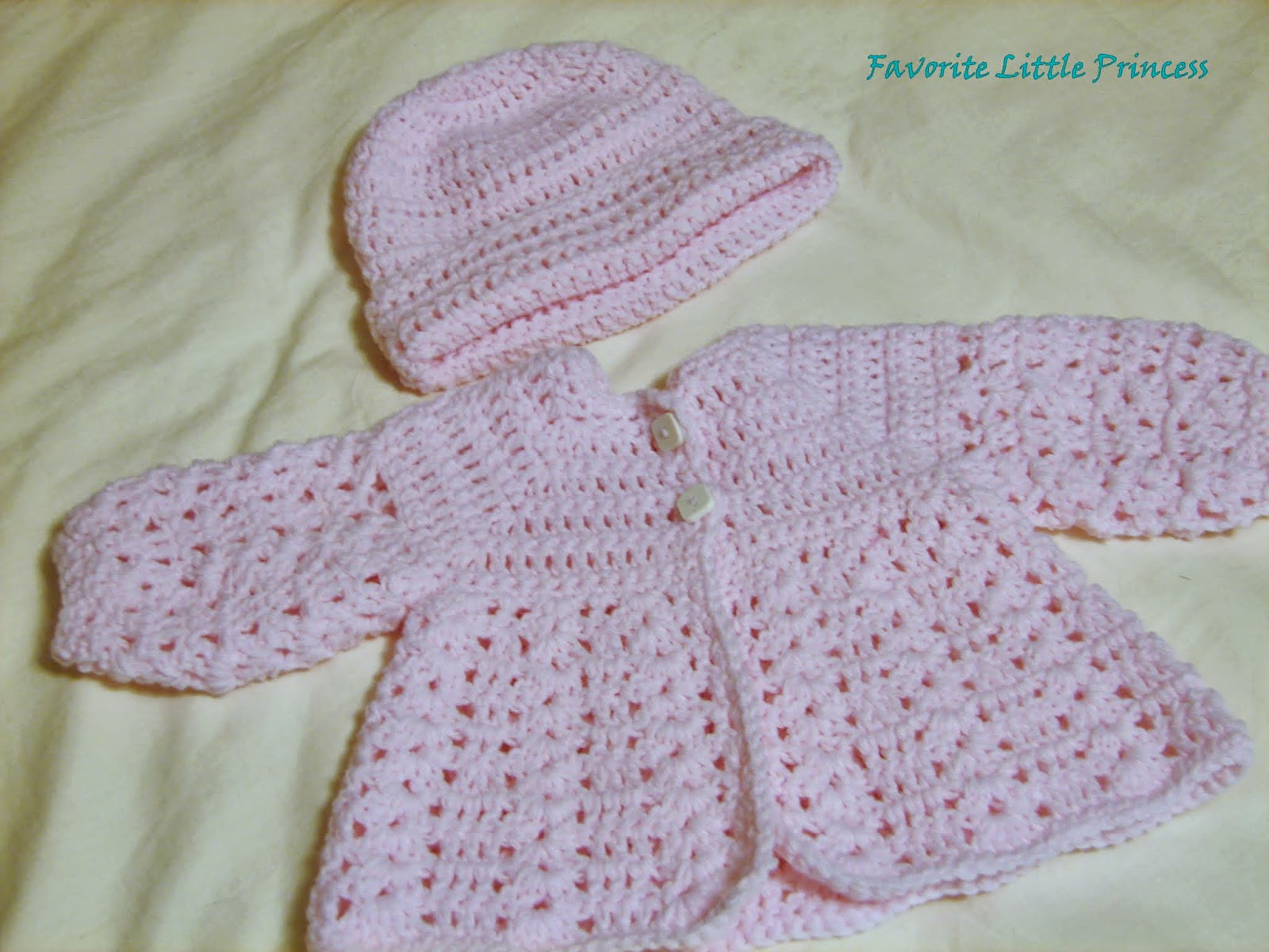 Favorite Little Princess Easy Baby Sweater and Hat