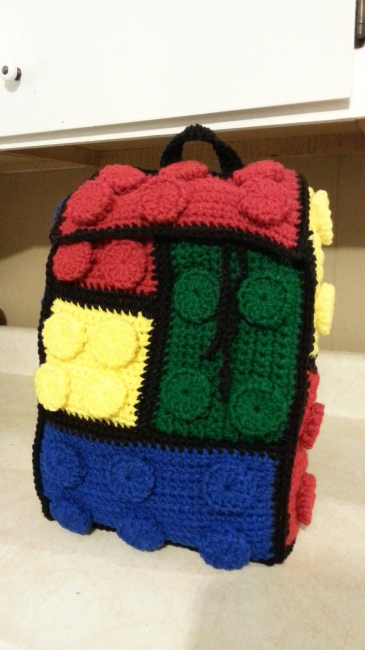 Crochet Lego Backpack Bag Tutorial How to crochet a