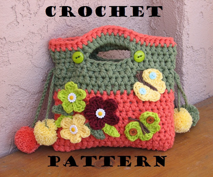 Crochet Bag Pattern for Beginners Beautiful Girls Bag Purse with Flowers butterfly and Pom Pom Of Awesome 45 Photos Crochet Bag Pattern for Beginners