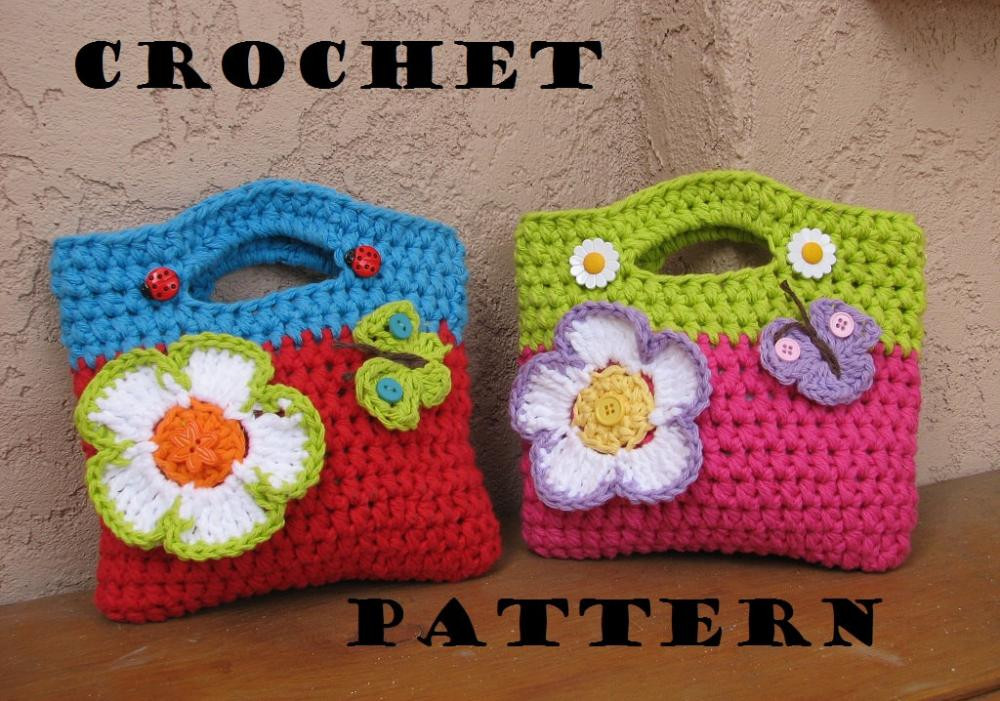 Crochet Bag Pattern for Beginners Lovely Girls Bag Purse with Flower and butterfly Crochet Of Awesome 45 Photos Crochet Bag Pattern for Beginners