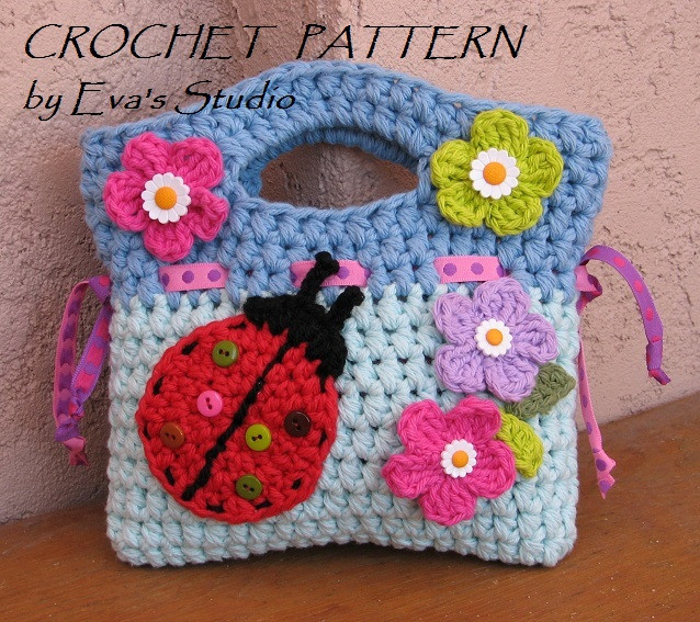Girls Bag Purse With Ladybug And Flowers Crochet
