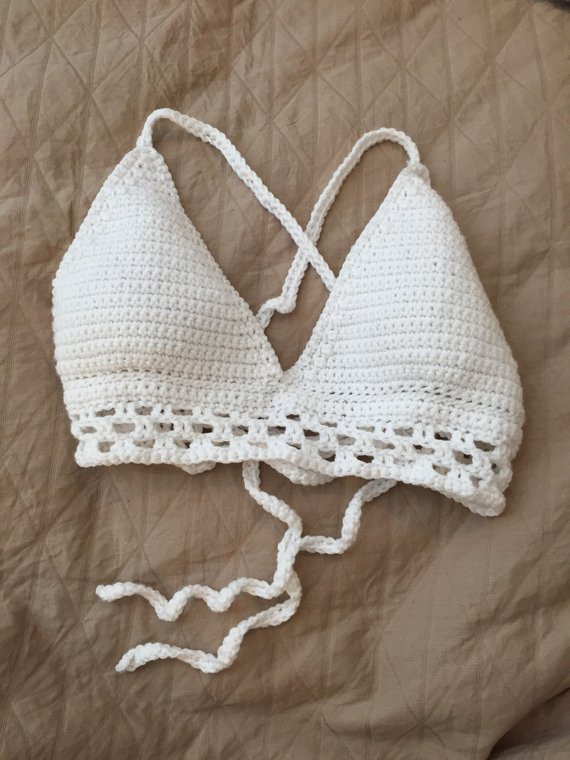 Crochet Bathing Suit Pattern Awesome Items Similar to Crochet Bathing Suit top Size L White Of Unique 50 Pictures Crochet Bathing Suit Pattern