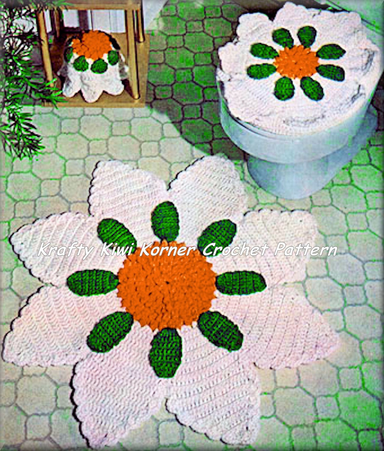 Crochet Bathroom Set Patterns Lot ONE 1 5 5 Patterns for 1 99