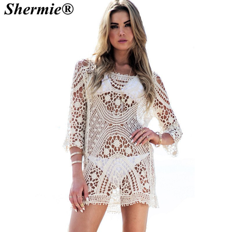 Aliexpress Buy Crochet Beach Cover up Bathing Suits