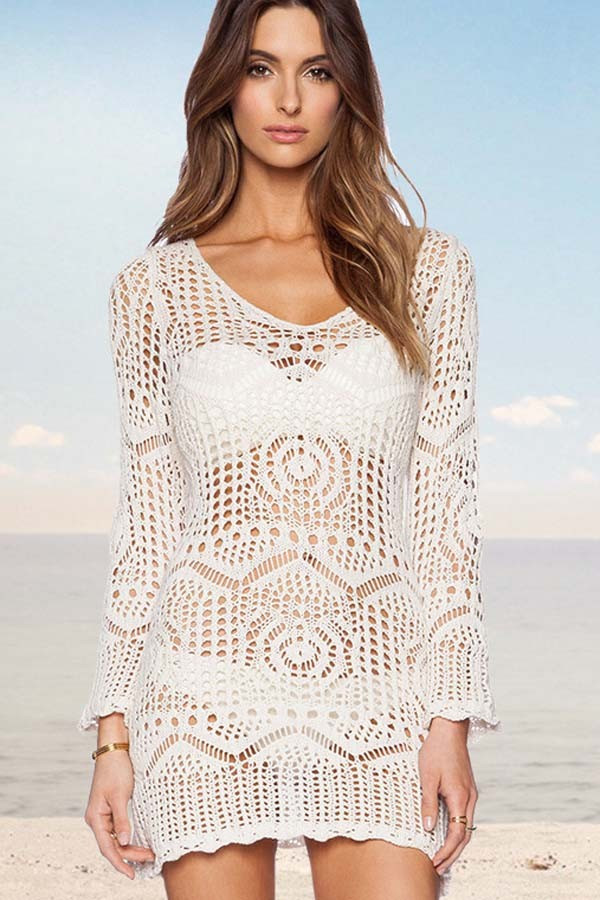 Crochet Beach Cover Up Dress Lovely White V Neck Hollow Lace Crochet Y Cover Up Dress Of Brilliant 50 Models Crochet Beach Cover Up Dress