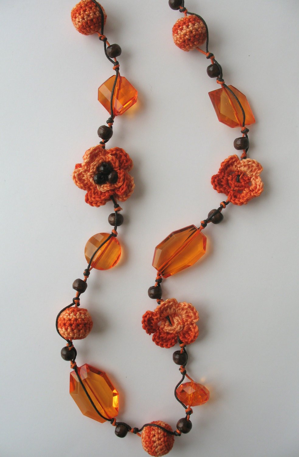 Crochet Beaded Necklace Awesome orange Crocheted Necklace with Beads Of Contemporary 43 Images Crochet Beaded Necklace