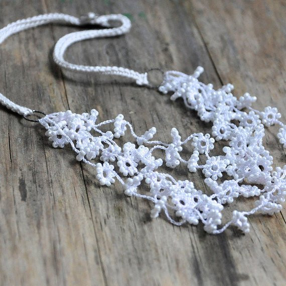 Crochet Beaded Necklace Beautiful Flower Fall Crocheted and Beaded Necklace In White Wedding Of Contemporary 43 Images Crochet Beaded Necklace